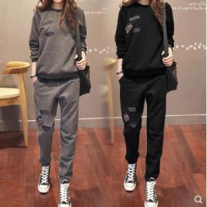YF67374# 休闲卫衣套装女新款秋冬宽松上衣运动两件套韩版时尚 服装批发女装直播货源