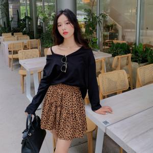 YF68116# 新款女装时尚两件套纯棉大V领上衣高腰半身裙套装 服装批发女装直播货源