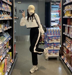 CX7000# 最便宜服服装批发 白色POLO领短款卫衣女装春秋季新款宽松韩版小个子上衣潮ins