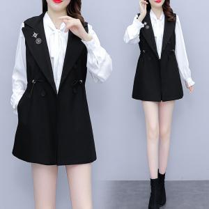 YF68484# 早秋季新款大码时尚夏装减龄洋气时尚马甲衬衫两件套装 服装批发装直播货源