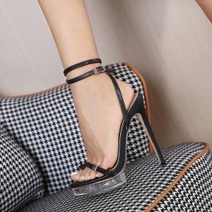 X-26166# 新款一字扣带高跟水晶防水台高跟女凉鞋34-42码 鞋子批发女鞋直播货源