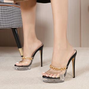 X-26168# 新金属锁头链条装高跟13CM水晶防水台高跟女鞋34-42码 鞋子批发女鞋直播货源