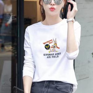CX6548# 最便宜服装批发 纯棉 白色长袖t恤女圆领宽松百搭体恤女大码打底衫ins潮春秋