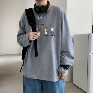 CX6919# 最便宜服装批发 纯棉套头圆领T恤情侣装秋季打底衫圆领长袖男女外套
