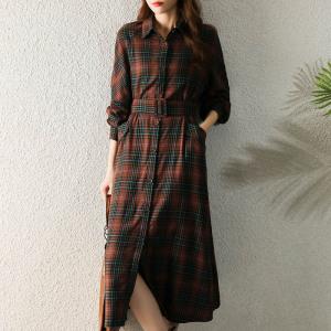 YF68149# 磨绒格纹系带显腰身两种穿法外套复古连衣裙 服装批发女装直播货源