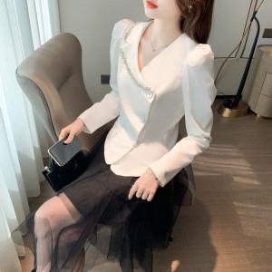 YF70068# 重工时尚西装上衣外套+显瘦不规则半身裙套装 服装批发女装直播货源