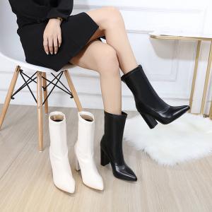 X-26192# 时尚新款 粗高跟尖头性感中筒靴子型号35-41码 鞋子批发女鞋直播货源