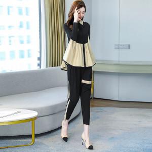 YF68510# 时尚套装女新款韩版宽松撞色拼接气质女神范洋气减龄两件套 服装批发装直播货源