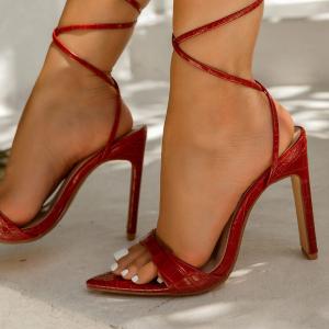 X-26170# 新款方跟尖头石头纹高跟细带女凉鞋35-42 鞋子批发女鞋直播货源