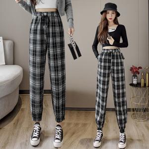 YF76356# 黑白格子裤女秋萝卜裤小个子女裤休闲新款春秋工装裤子