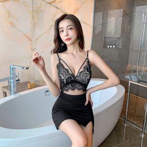 YF69902# 性感吊带睫毛蕾丝包臀洋装 服装批发女装直播货源