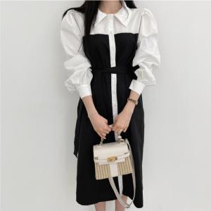 YF71198# 韩国chic法式轻奢复古撞色泡泡袖系带连衣裙