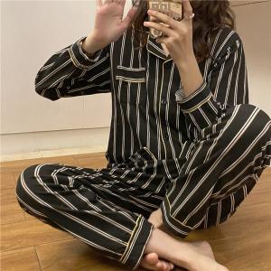 YF70434# 春秋款ins韩版睡衣女开衫套装长袖长裤网红 服装批发女装直播货源