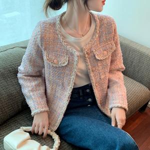 YF71135# 秋冬新款韩版百搭时髦圆领小香风短款外套女毛呢外套秋冬