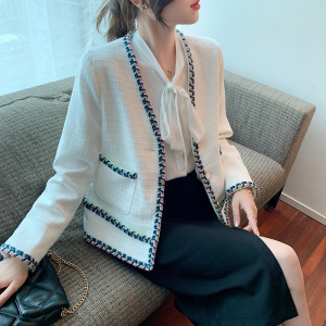 YF71136# 秋冬新款韩版百搭洋气口袋拼接长袖短款小香风外套女上衣