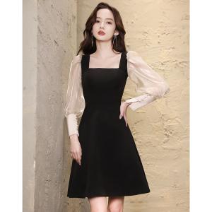 YF71260# 法式小晚礼服女秋季平时可穿黑色轻奢高端宴会气质名媛洋装连衣裙