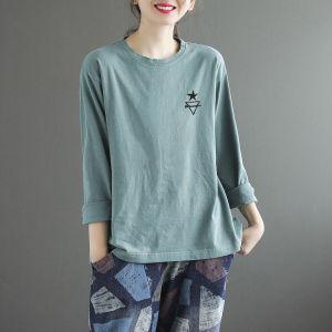 CX6862# 最便宜服装批发 新款原创文艺刺绣圆领长袖T恤女宽松显瘦秋季打底女上衣