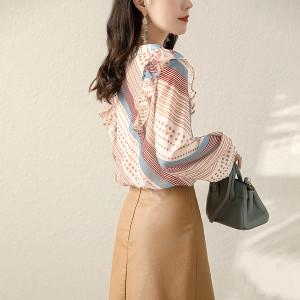 YF70515# 时尚秋季新款宽松法式文艺复古几何花色设计感轻薄女式上衣 服装批发女装直播货源