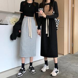 YF70879# 中长款后开叉半身裙秋季韩版新款高腰抽绳一步裙女 服装批发女装直播货源