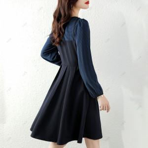 YF70522# 秋季新款轻熟风假两件吊带可盐可甜气质显瘦舒适连衣裙女 服装批发女装直播货源