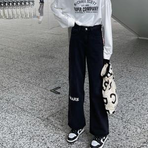 YF70061# 大码黑色字母印花牛仔直筒裤新款胖mm宽松显瘦垂感阔腿裤 服装批发女装直播货源