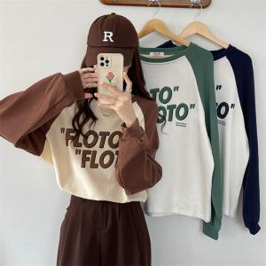 YF70907# 秋冬设计感拼接字母印花韩版长袖T恤女 服装批发女装直播货源