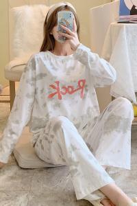 YF70441# 扎染睡衣女秋冬季新款棉印花长袖长裤韩版宽松双口袋两件套装 服装批发女装直播货源