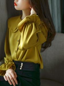 YF70525# 新款秋季气质减龄双层娃娃领喇叭袖设计感雪纺衬衫女 服装批发女装直播货源