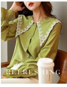 YF70526# 秋季新款衬衫女设计感花边娃娃领喇叭袖宽松长袖衬衣 服装批发女装直播货源