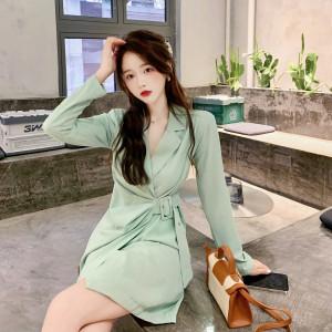 YF71307# 西装连衣裙女秋季新款韩系风设计感小众收腰显瘦裙