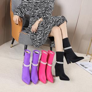 X-26193# 时尚新款 尖头粗高跟中筒断靴子 鞋子批发女鞋直播货源