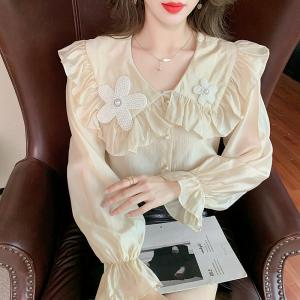 YF71262# 秋季新款设计时尚通勤风宽松遮肉百搭雪纺衬衫女