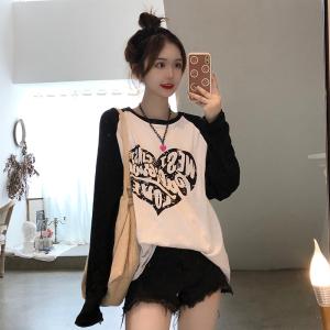YF70862# 大码韩国ulzzang爱心字母图案袖子撞色宽松棉麻长袖T恤女 服装批发女装直播货源