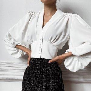 YF71254# 欧美新款法式V领衬衫宫廷风气质灯笼袖修身长袖衬衣女