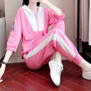 CX7006# 最便宜服服装批发 春秋款粉红色七分袖运动套装新款潮广场舞曳步舞跑步