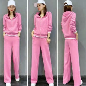 CX7007# 最便宜服服装批发 时尚休闲运动套装女春季新款韩版宽松洋气拼接卫衣两件套潮