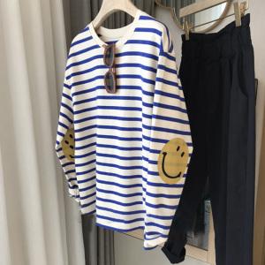 YF71021# 秋季新款宽松圆领笑脸条纹长袖T恤 服装批发女装直播货源