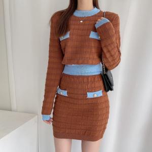 YF71203# 韩国chic千金洋气撞色质感针织两件套
