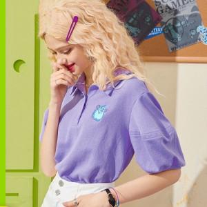 YF71276# 纯棉短袖T恤女polo领夏季泡泡袖刺绣学生上衣