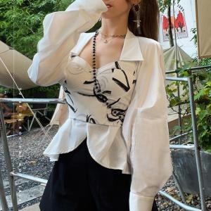 YF71255# 白色裹胸衬衫...