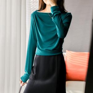 YF71107# 秋装T恤女长袖时尚气质遮肚显瘦洋气皱褶一字领上衣 服装批发女装直播货源