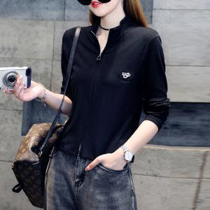 YF71113# 长袖T恤女装春秋装修身短款立领开衫打底衫上衣潮 服装批发女装直播货源