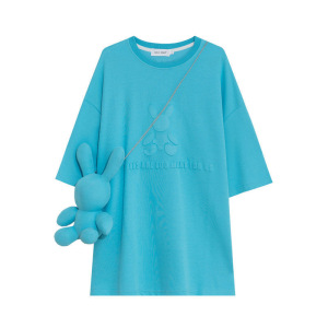 YF71279# BF潮牌显白宽松短袖T恤女学院风压花ins纯棉上衣