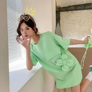 YF71280# 中长款纯棉短袖T恤女设计感宽松韩版下身失踪炸街半袖上衣