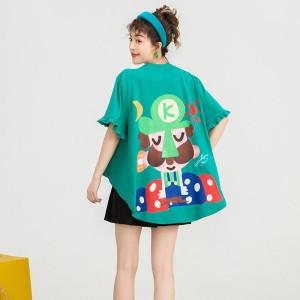YF71284# 斗篷绿色短袖t恤女夏新款卡通印花宽松上衣oversize潮
