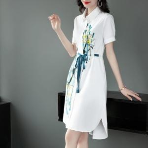 YF71289# 连衣裙女夏装新款时尚气质优雅V领系带雅致通勤裙子