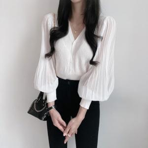YF71253# 韩国chic时尚气质夏季新款显瘦雪纺拼接V领开衫针织衫女