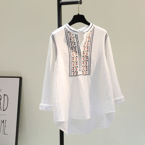 YF71224# 复古民族风刺绣白色全棉衬衫女秋季新款宽松休闲套头衬衣上衣