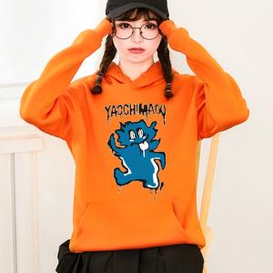 CX7034# 最便宜服服装批发 秋冬季加绒时尚欧韩版套头连帽卫衣女款卡通宽松上衣