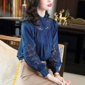 YF71236# 蓝色仿真丝衬衫女新款时尚绣花镂空长袖宽松简约衬衣上衣